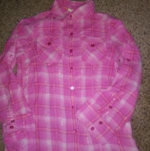SO Girls Sz M. Pink Plaid Button-up Long Sleeve 🐾
